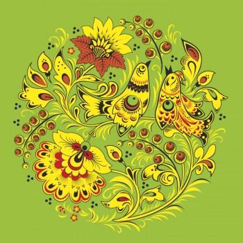 Орнамент цветы и птицы