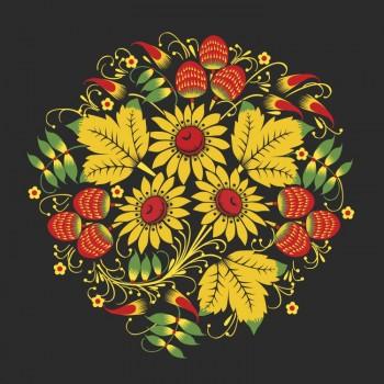 Хохлома, ягоды и листья