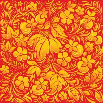Золотые цветы на красном