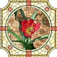Витраж с тюльпаном