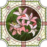 Витраж с лилиями